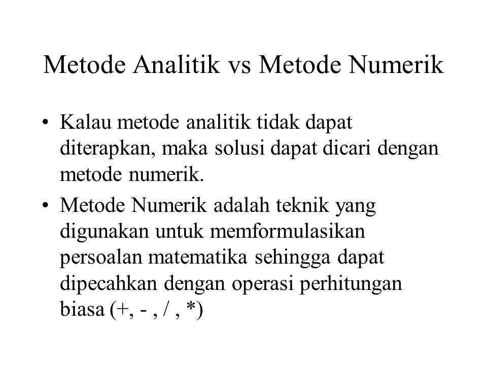Metode Analitik vs Metode Numerik Kalau metode analitik tidak dapat diterapkan, maka solusi dapat dicari dengan metode numerik.