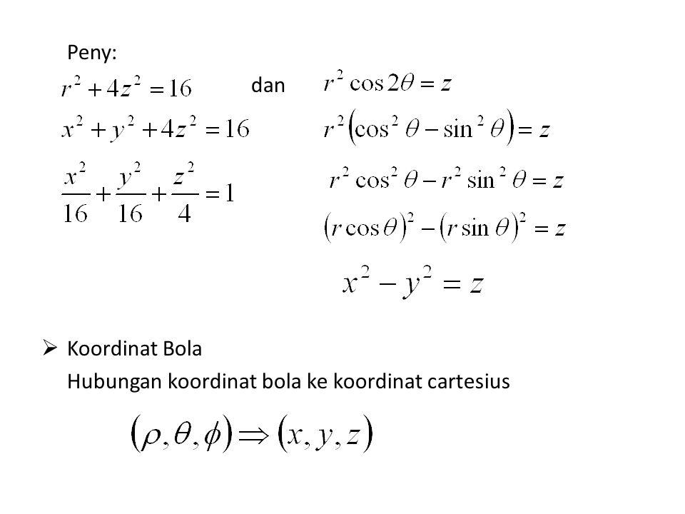 Bola ke cartesius Cartesius ke Bola Contoh soal: 1.Tentukan koordinat cartesius sebuah titik yang mempunyai koordinat bola Peny: