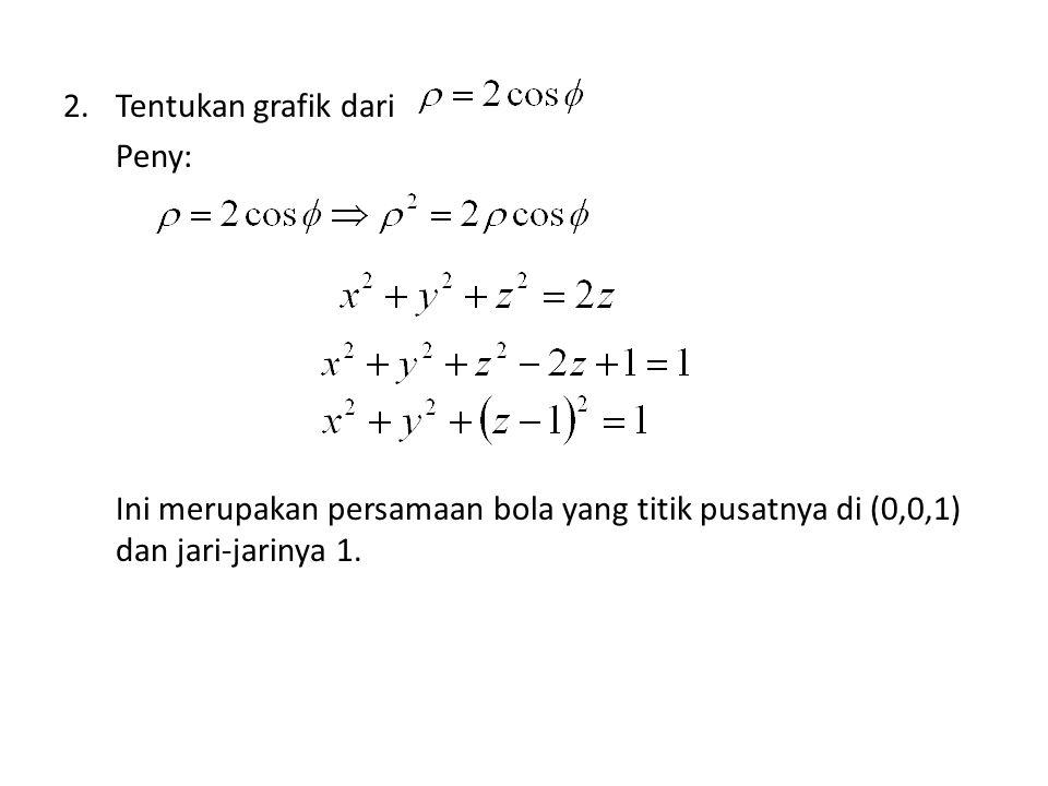 2.Tentukan grafik dari Peny: Ini merupakan persamaan bola yang titik pusatnya di (0,0,1) dan jari-jarinya 1.