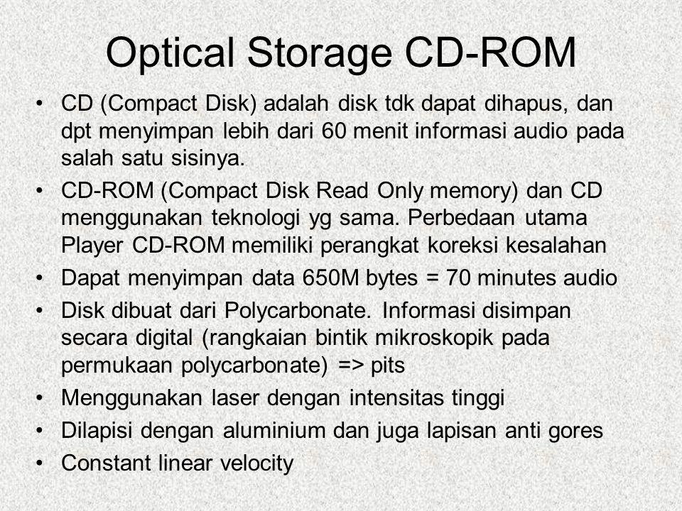 Optical Storage CD-ROM CD (Compact Disk) adalah disk tdk dapat dihapus, dan dpt menyimpan lebih dari 60 menit informasi audio pada salah satu sisinya.