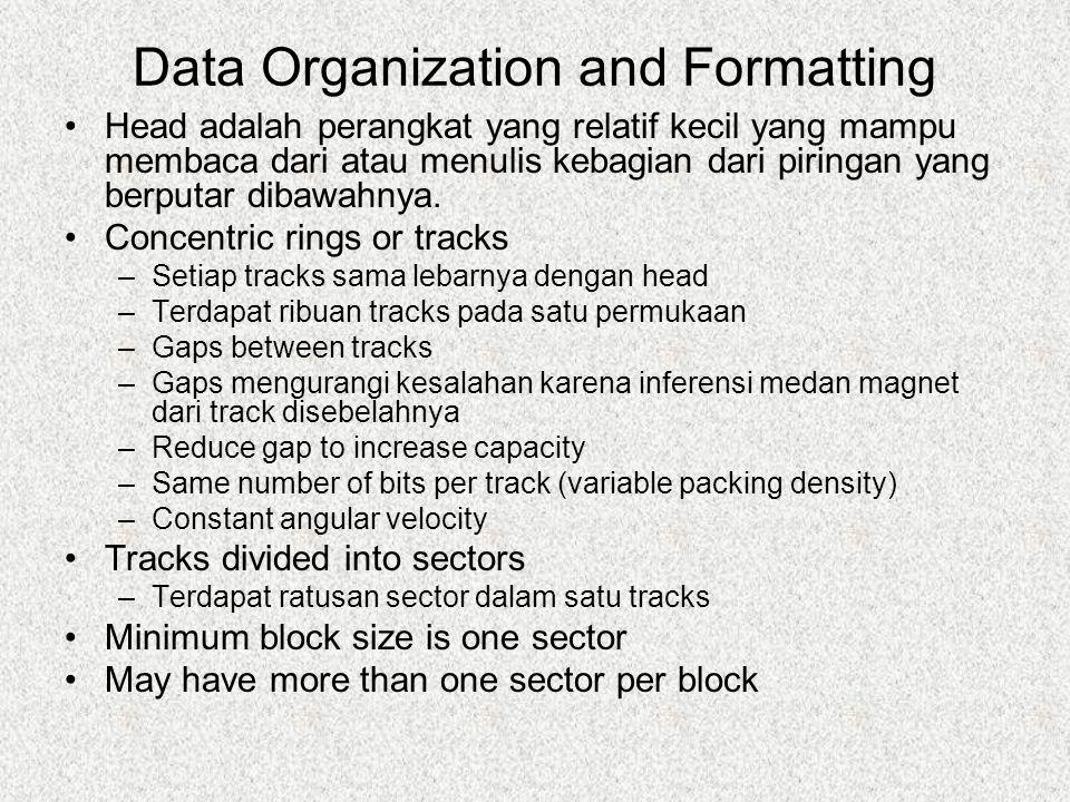 Data Organization and Formatting Head adalah perangkat yang relatif kecil yang mampu membaca dari atau menulis kebagian dari piringan yang berputar dibawahnya.