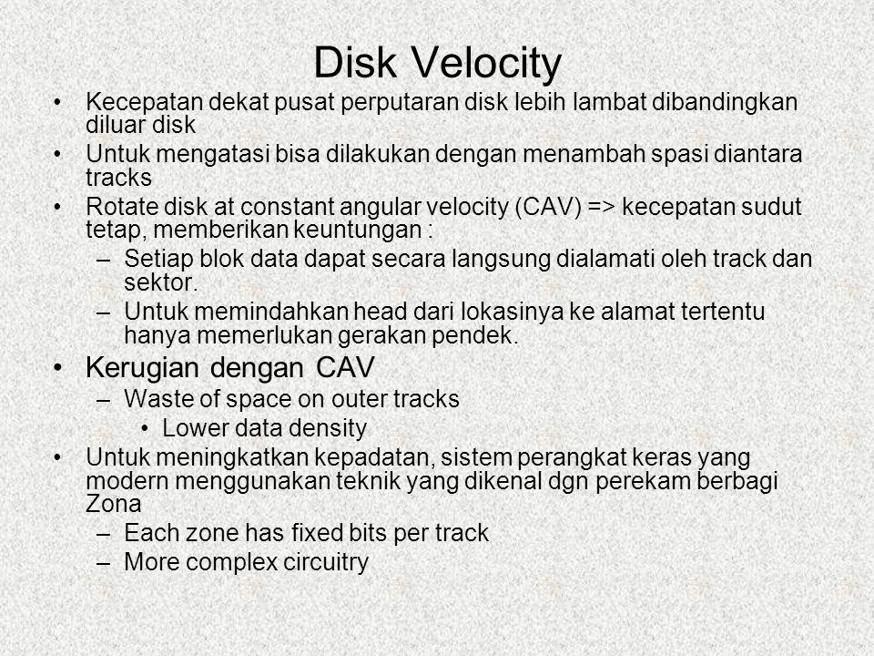 Disk Velocity Kecepatan dekat pusat perputaran disk lebih lambat dibandingkan diluar disk Untuk mengatasi bisa dilakukan dengan menambah spasi diantar