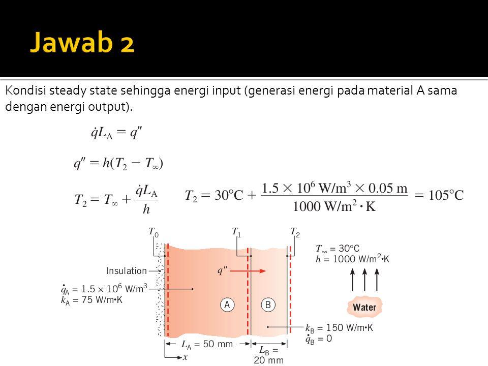 Kondisi steady state sehingga energi input (generasi energi pada material A sama dengan energi output).