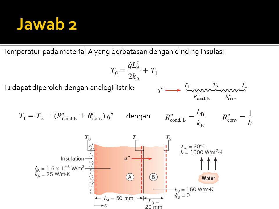 Temperatur pada material A yang berbatasan dengan dinding insulasi T1 dapat diperoleh dengan analogi listrik: dengan
