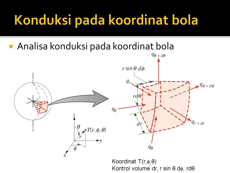  Analisa konduksi pada koordinat bola Koordinat T(r, ,θ) Kontrol volume dr, r sin θ d , rdθ