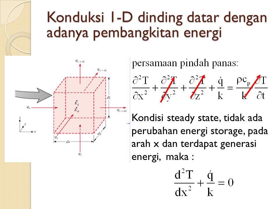 Konduksi 1-D dinding datar dengan adanya pembangkitan energi Kondisi steady state, tidak ada perubahan energi storage, pada arah x dan terdapat genera