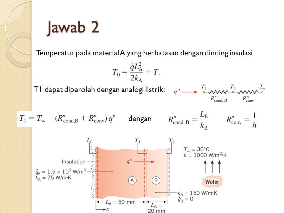 Jawab 2 Temperatur pada material A yang berbatasan dengan dinding insulasi T1 dapat diperoleh dengan analogi listrik: dengan