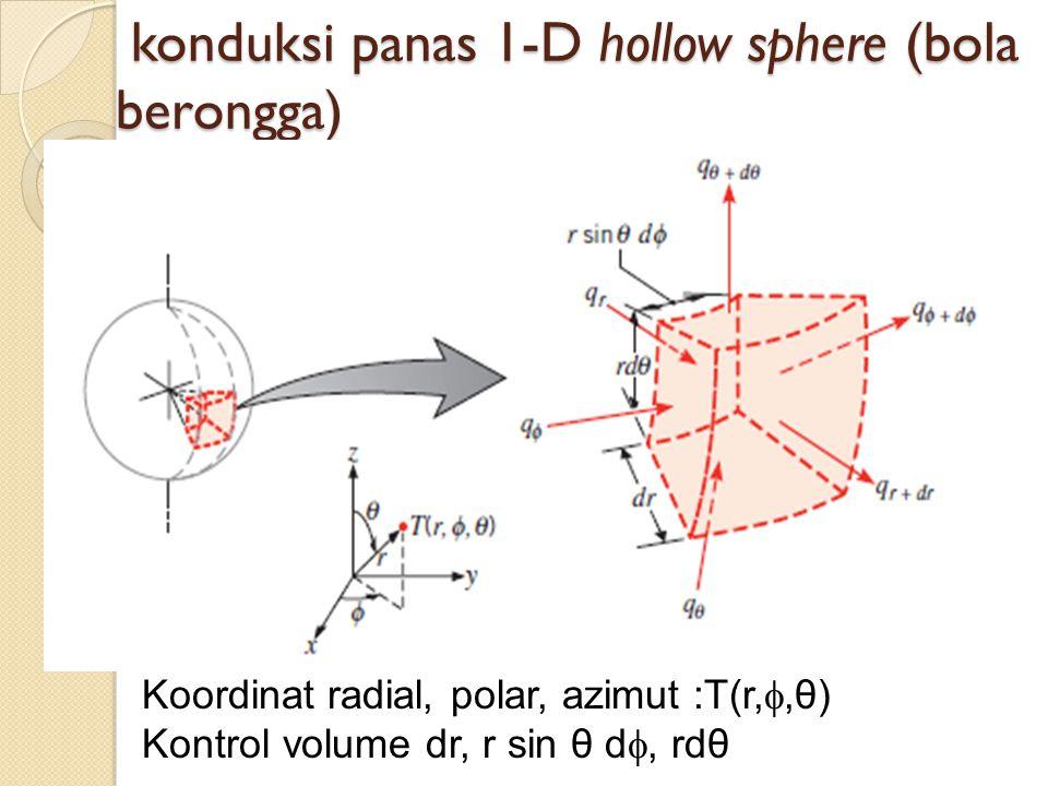 Persamaan umum konduksi pada koordinat bola Fluks panas terjadi pada arah radial, polar dan azimut.