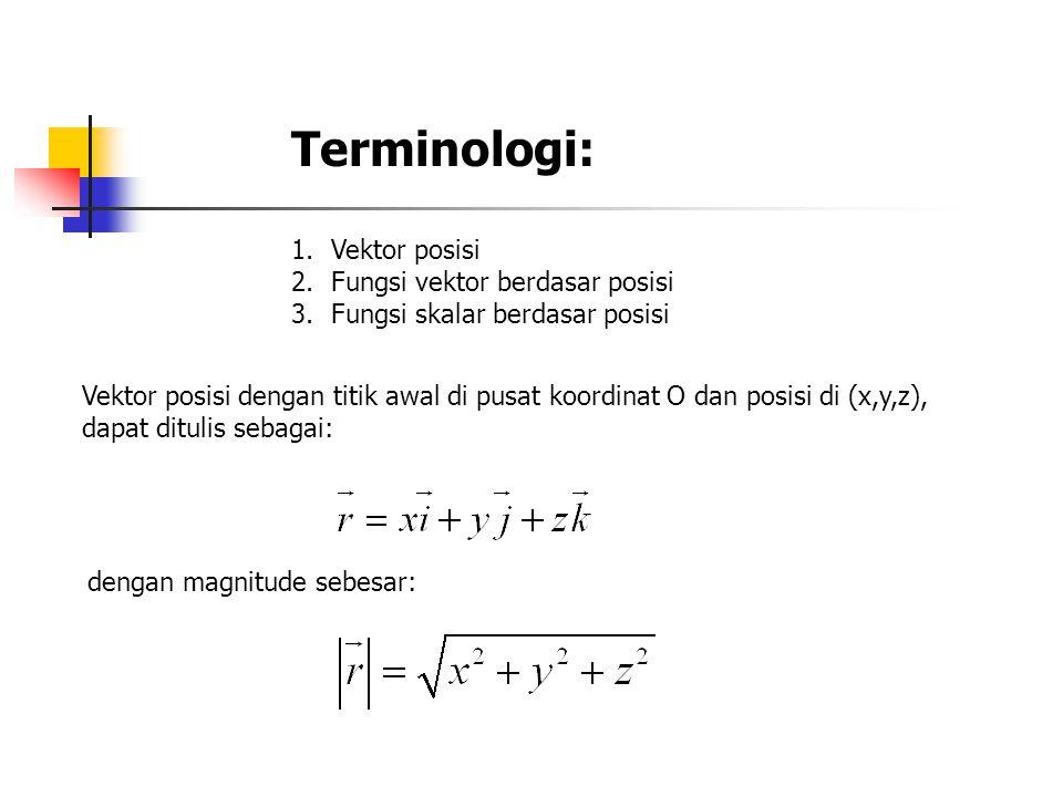 Terminologi: 1.Vektor posisi 2.Fungsi vektor berdasar posisi 3.Fungsi skalar berdasar posisi Vektor posisi dengan titik awal di pusat koordinat O dan