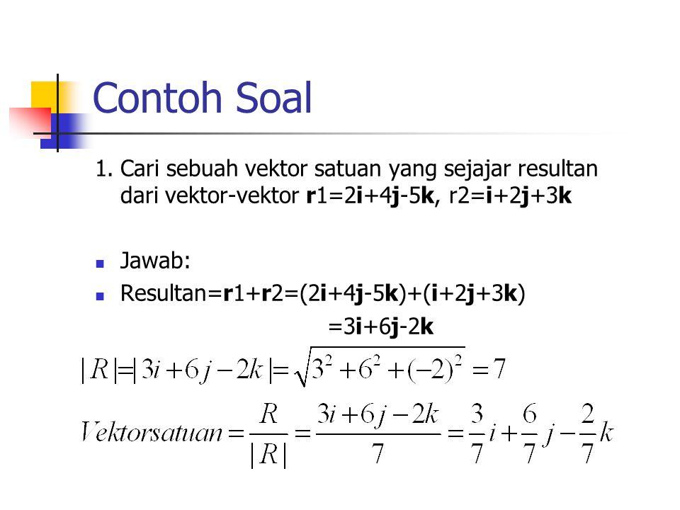 Contoh Soal 1.Cari sebuah vektor satuan yang sejajar resultan dari vektor-vektor r1=2i+4j-5k, r2=i+2j+3k Jawab: Resultan=r1+r2=(2i+4j-5k)+(i+2j+3k) =3