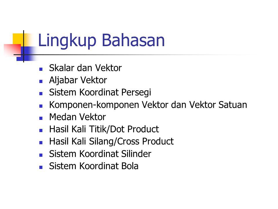 Lingkup Bahasan Skalar dan Vektor Aljabar Vektor Sistem Koordinat Persegi Komponen-komponen Vektor dan Vektor Satuan Medan Vektor Hasil Kali Titik/Dot