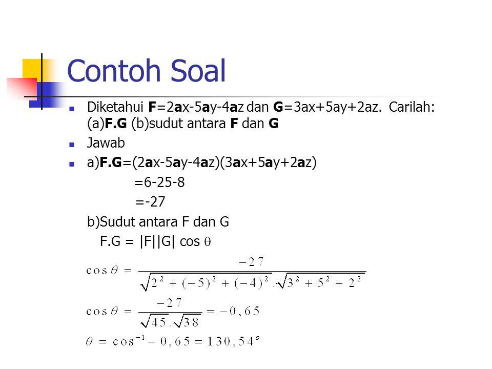 Contoh Soal Diketahui F=2ax-5ay-4az dan G=3ax+5ay+2az. Carilah: (a)F.G (b)sudut antara F dan G Jawab a)F.G=(2ax-5ay-4az)(3ax+5ay+2az) =6-25-8 =-27 b)S