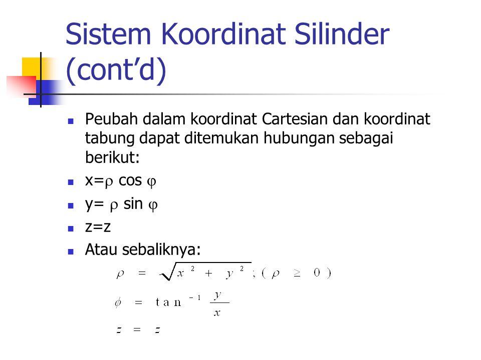 Sistem Koordinat Silinder (cont'd) Peubah dalam koordinat Cartesian dan koordinat tabung dapat ditemukan hubungan sebagai berikut: x=  cos  y=  sin