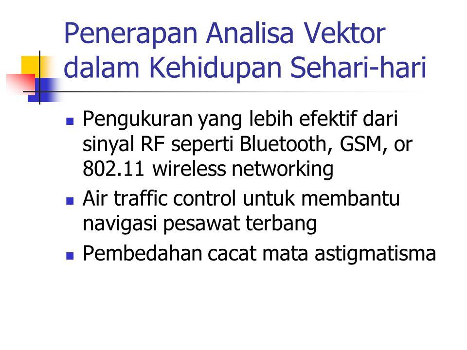 Penerapan Analisa Vektor dalam Kehidupan Sehari-hari Pengukuran yang lebih efektif dari sinyal RF seperti Bluetooth, GSM, or 802.11 wireless networkin