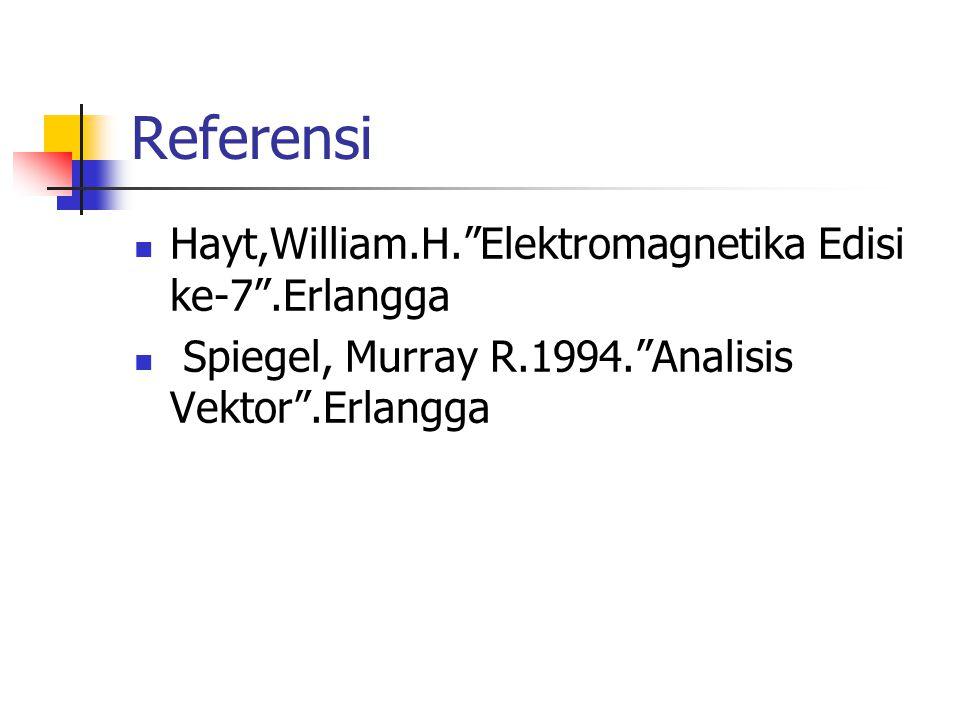 "Referensi Hayt,William.H.""Elektromagnetika Edisi ke-7"".Erlangga Spiegel, Murray R.1994.""Analisis Vektor"".Erlangga"