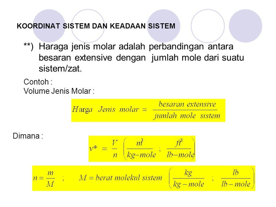 **) Haraga jenis molar adalah perbandingan antara besaran extensive dengan jumlah mole dari suatu sistem/zat.