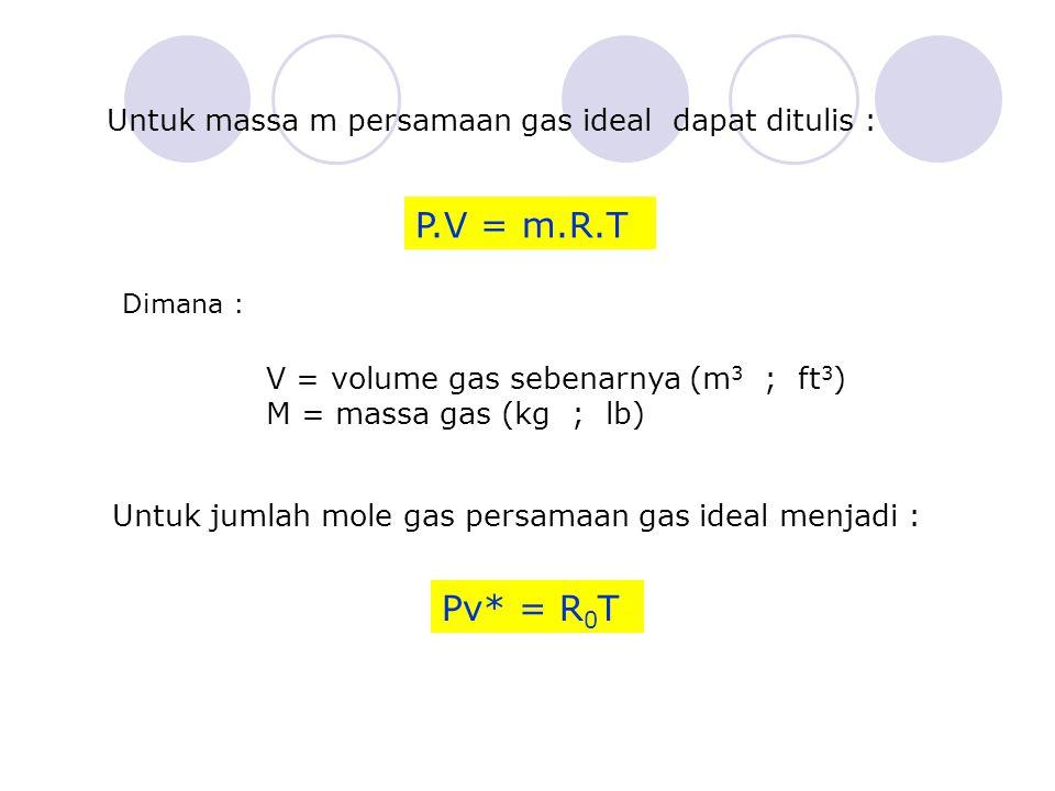 Untuk massa m persamaan gas ideal dapat ditulis : P.V = m.R.T Dimana : V = volume gas sebenarnya (m 3 ; ft 3 ) M = massa gas (kg ; lb) Untuk jumlah mole gas persamaan gas ideal menjadi : Pv* = R 0 T