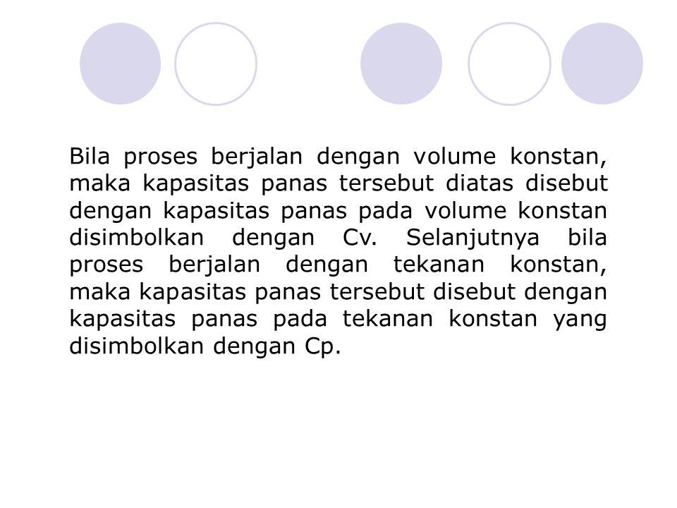 Bila proses berjalan dengan volume konstan, maka kapasitas panas tersebut diatas disebut dengan kapasitas panas pada volume konstan disimbolkan dengan Cv.