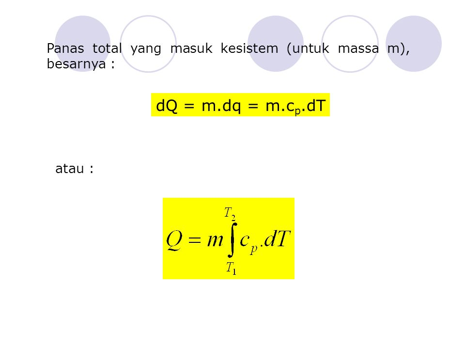Panas total yang masuk kesistem (untuk massa m), besarnya : dQ = m.dq = m.c p.dT atau :