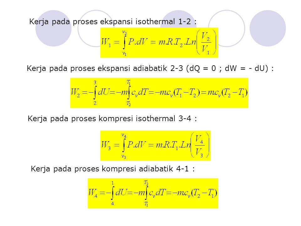 Kerja pada proses ekspansi isothermal 1-2 : Kerja pada proses ekspansi adiabatik 2-3 (dQ = 0 ; dW = - dU) : Kerja pada proses kompresi isothermal 3-4 : Kerja pada proses kompresi adiabatik 4-1 :