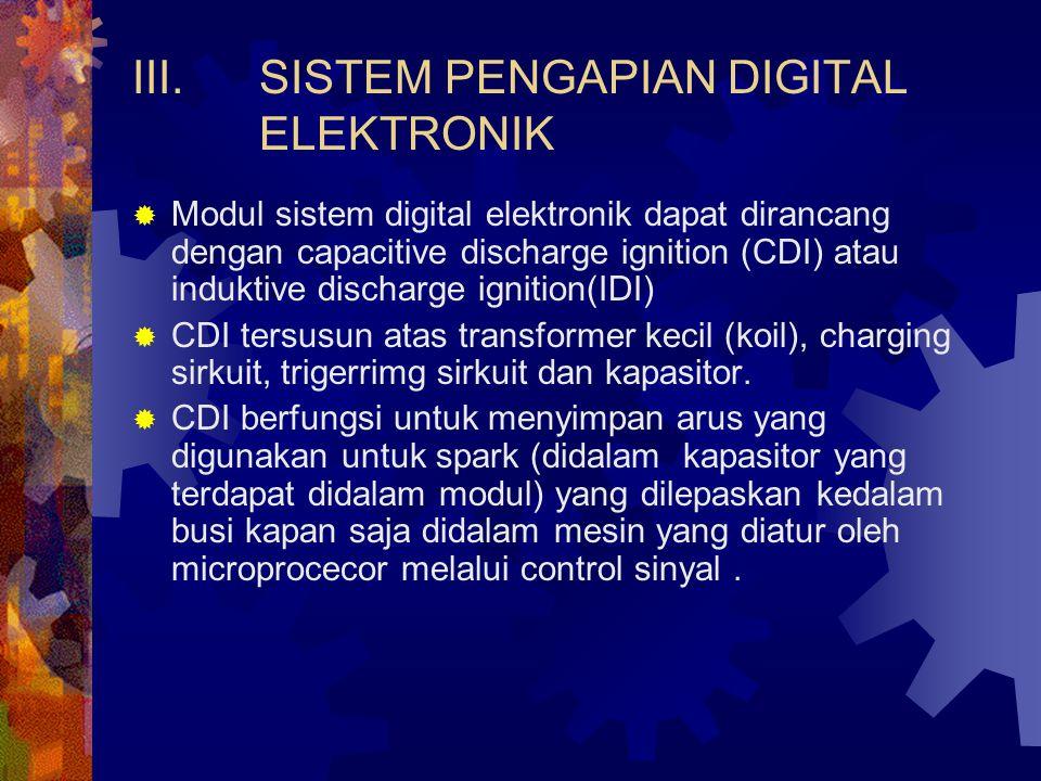 III.SISTEM PENGAPIAN DIGITAL ELEKTRONIK  Modul sistem digital elektronik dapat dirancang dengan capacitive discharge ignition (CDI) atau induktive di