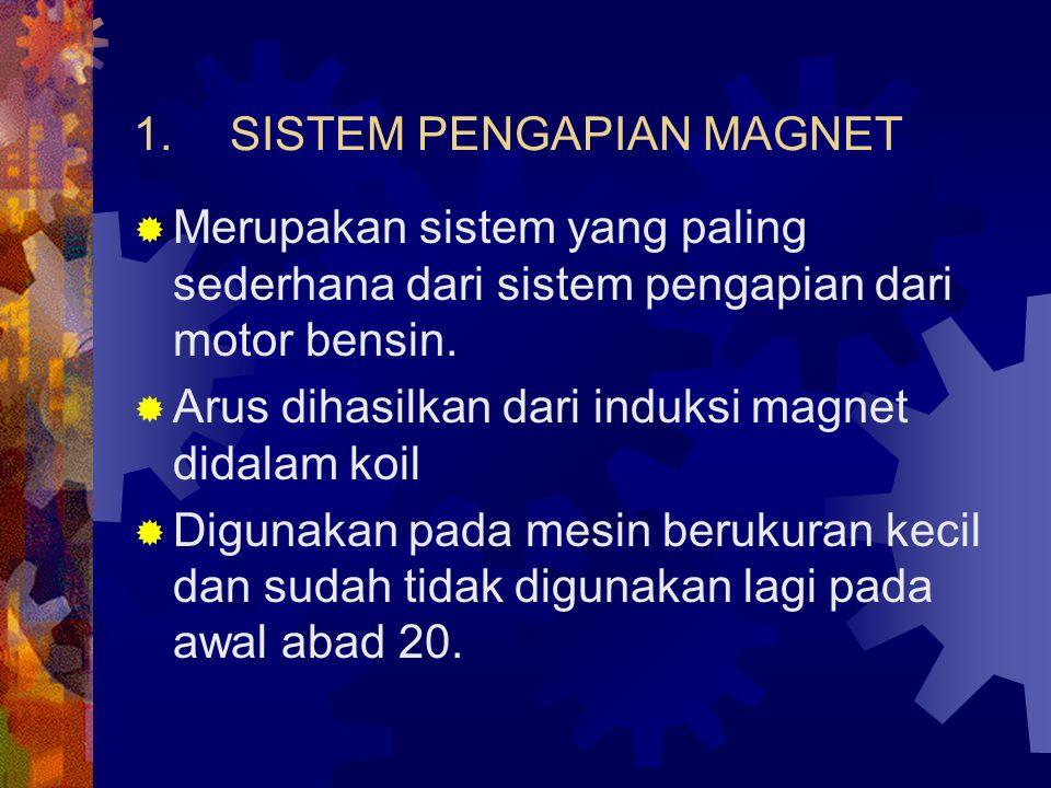 1.SISTEM PENGAPIAN MAGNET  Merupakan sistem yang paling sederhana dari sistem pengapian dari motor bensin.  Arus dihasilkan dari induksi magnet dida