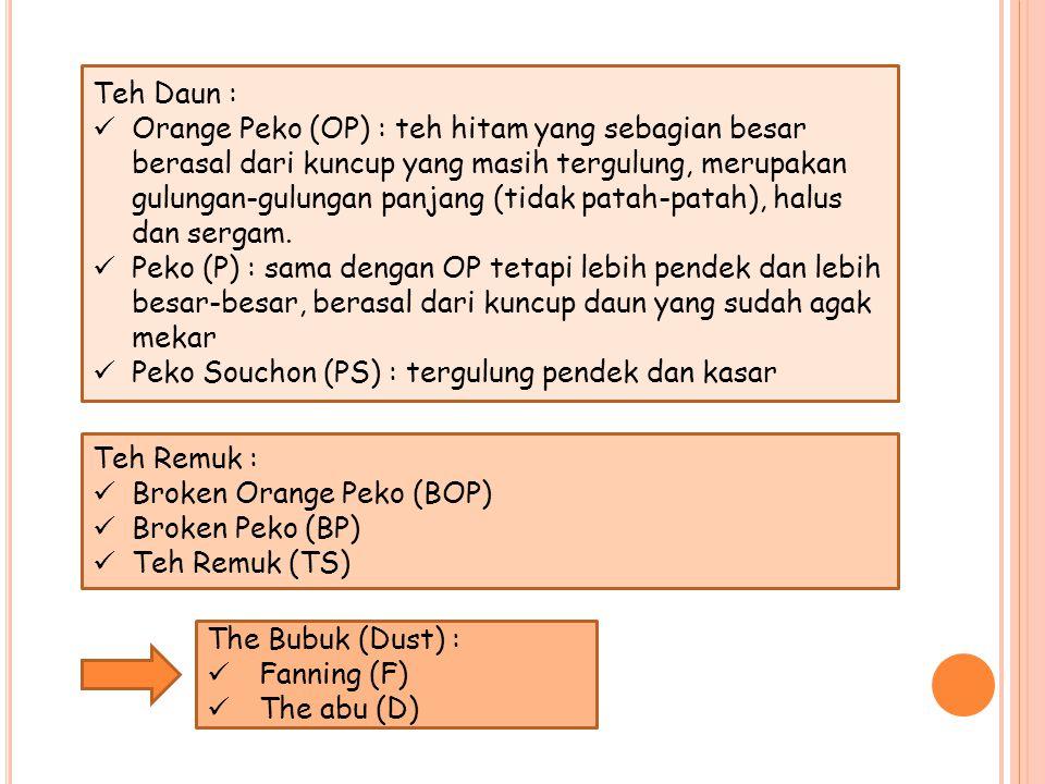 Teh Daun : Orange Peko (OP) : teh hitam yang sebagian besar berasal dari kuncup yang masih tergulung, merupakan gulungan-gulungan panjang (tidak patah-patah), halus dan sergam.