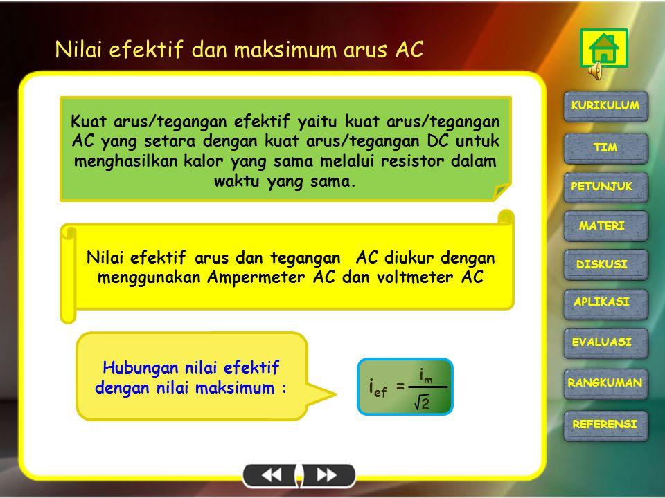 Nilai efektif dan maksimum arus AC i ef = imim 2 Hubungan nilai efektif dengan nilai maksimum : Nilai efektif arus dan tegangan AC diukur dengan mengg