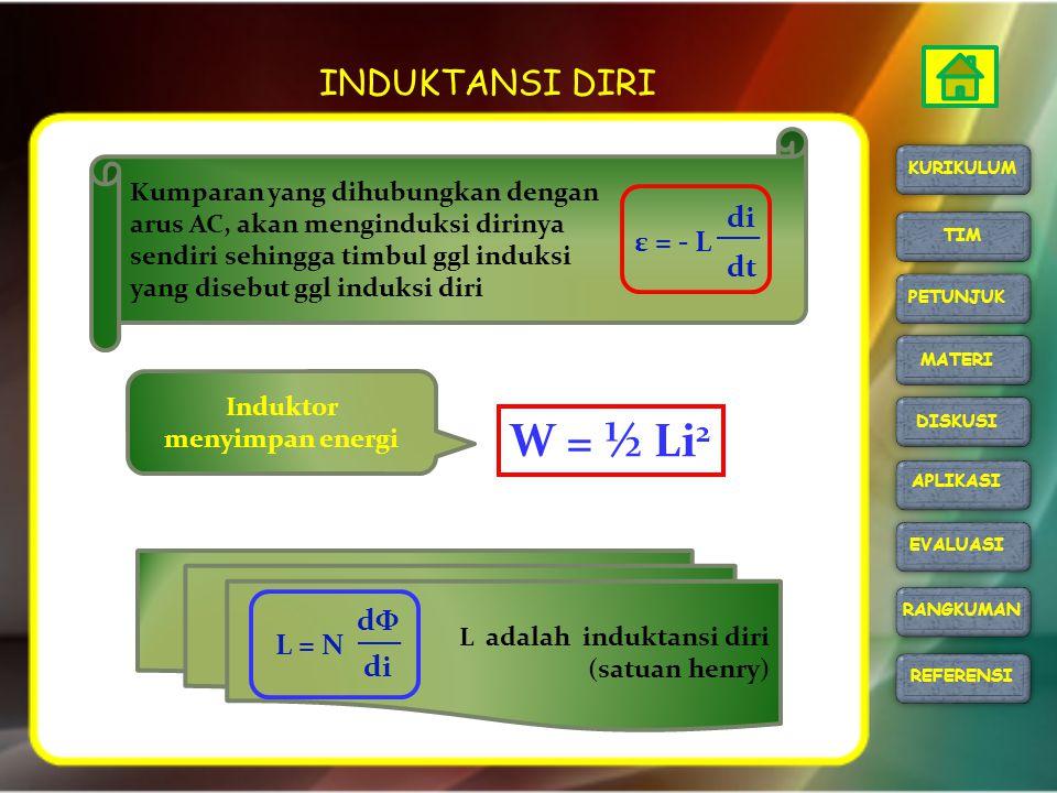 INDUKTANSI DIRI W = ½ Li 2 Kumparan yang dihubungkan dengan arus AC, akan menginduksi dirinya sendiri sehingga timbul ggl induksi yang disebut ggl ind