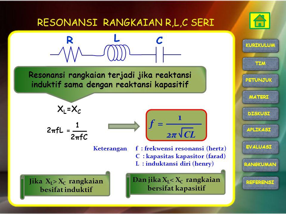 RESONANSI RANGKAIAN R,L,C SERI X L =X C f : frekwensi resonansi (hertz) C : kapasitas kapasitor (farad) L : induktansi diri (henry) Keterangan f = 2 π