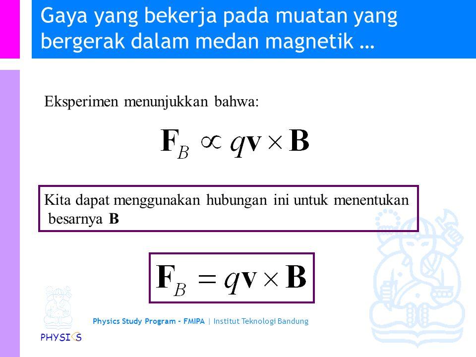 Physics Study Program - FMIPA | Institut Teknologi Bandung PHYSI S Gaya yang bekerja pada muatan yang bergerak dalam medan magnetik… Gaya magnetik yan