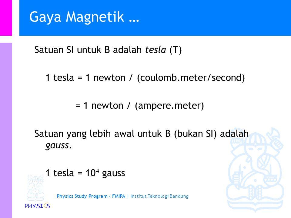 Physics Study Program - FMIPA | Institut Teknologi Bandung PHYSI S Gaya Magnetik Jika sebuah muatan q bergerak dengan kecepatan v dalam medan magnetik
