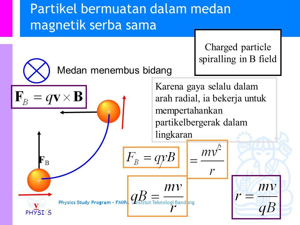 Physics Study Program - FMIPA   Institut Teknologi Bandung PHYSI S Partikel bermuatan dalam medan magnetik serba sama Medan menembus bidang + v v FBFB + + ++ + + Perhatikan laju tidak berubah tetapi arah berubah Force is always  to v