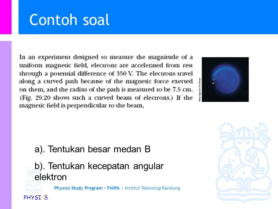 Physics Study Program - FMIPA | Institut Teknologi Bandung PHYSI S Partikel bermuatan dalam medan magnetik serba sama The angular velocity of a partic