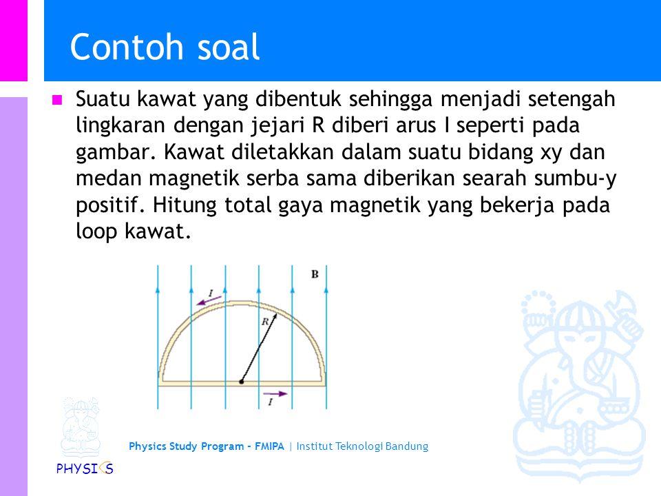 Physics Study Program - FMIPA   Institut Teknologi Bandung PHYSI S Gaya pada suatu kawat berarus…