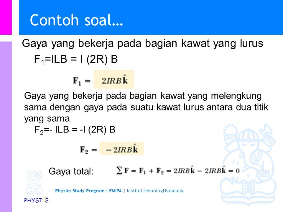 Physics Study Program - FMIPA   Institut Teknologi Bandung PHYSI S Contoh soal Suatu kawat yang dibentuk sehingga menjadi setengah lingkaran dengan jejari R diberi arus I seperti pada gambar.
