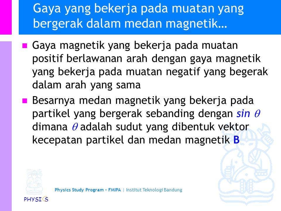 Physics Study Program - FMIPA | Institut Teknologi Bandung PHYSI S Gaya yang bekerja pada muatan yang bergerak dalam medan magnetik… Ketika partikel b