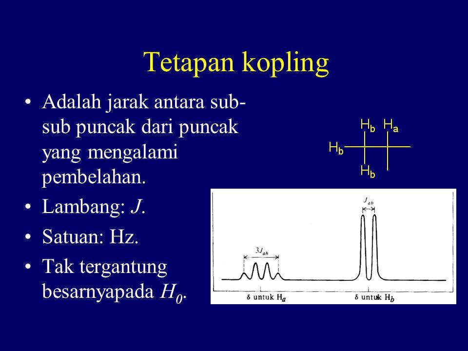Tetapan kopling Adalah jarak antara sub- sub puncak dari puncak yang mengalami pembelahan. Lambang: J. Satuan: Hz. Tak tergantung besarnyapada H 0.