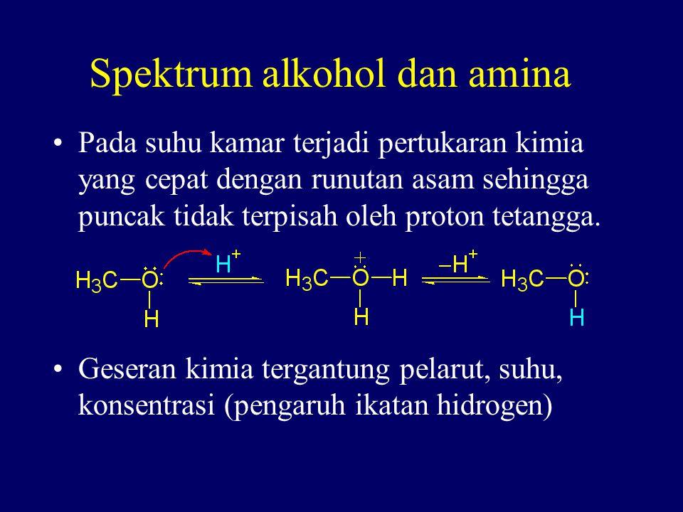 Spektrum alkohol dan amina Pada suhu kamar terjadi pertukaran kimia yang cepat dengan runutan asam sehingga puncak tidak terpisah oleh proton tetangga