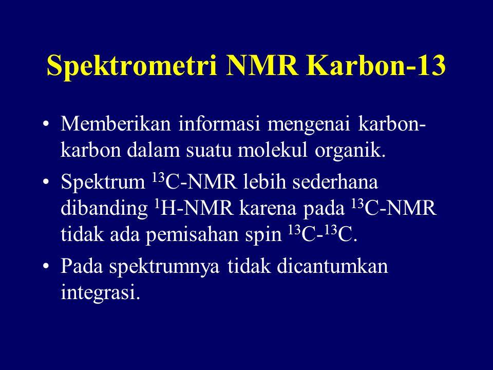 Spektrometri NMR Karbon-13 Memberikan informasi mengenai karbon- karbon dalam suatu molekul organik. Spektrum 13 C-NMR lebih sederhana dibanding 1 H-N