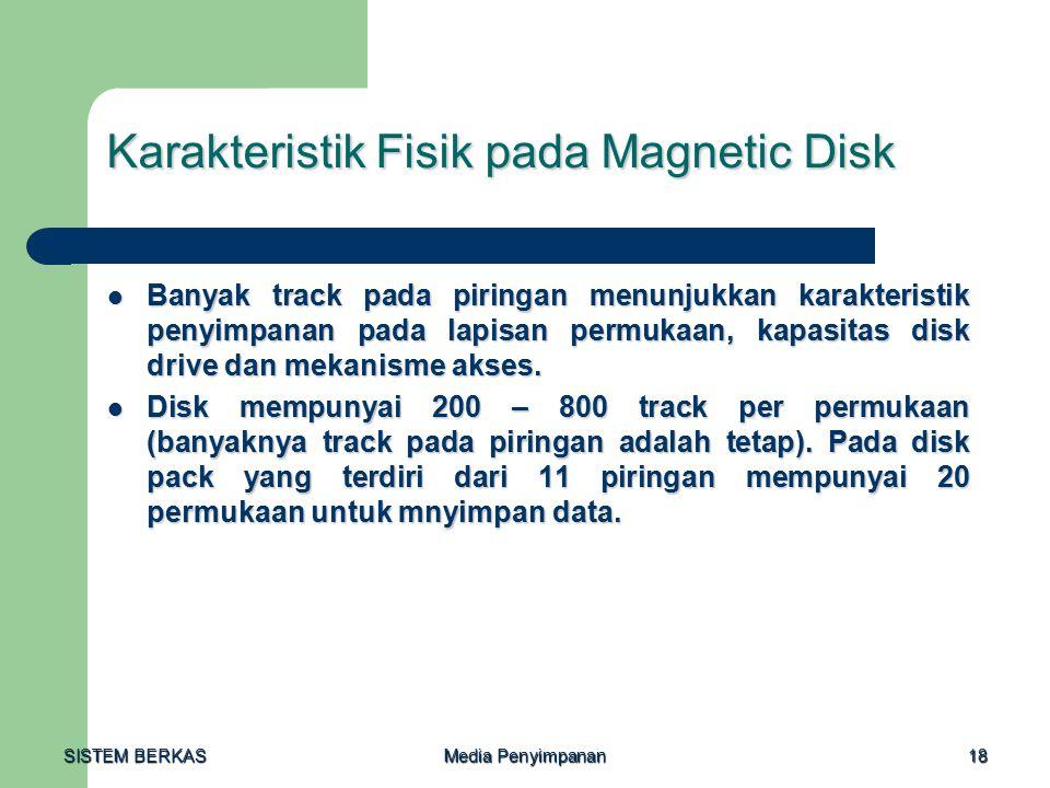 SISTEM BERKAS Media Penyimpanan 18 Karakteristik Fisik pada Magnetic Disk Banyak track pada piringan menunjukkan karakteristik penyimpanan pada lapisan permukaan, kapasitas disk drive dan mekanisme akses.
