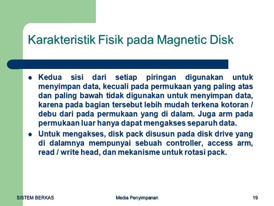 SISTEM BERKAS Media Penyimpanan 19 Karakteristik Fisik pada Magnetic Disk Kedua sisi dari setiap piringan digunakan untuk menyimpan data, kecuali pada