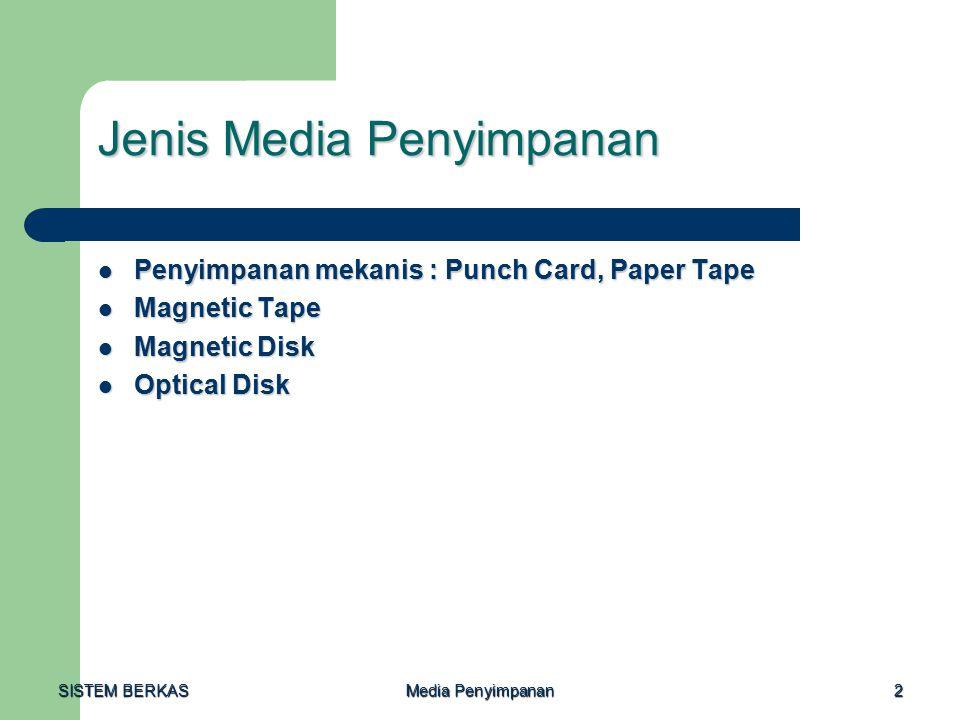 SISTEM BERKAS Media Penyimpanan 2 Jenis Media Penyimpanan Penyimpanan mekanis : Punch Card, Paper Tape Penyimpanan mekanis : Punch Card, Paper Tape Magnetic Tape Magnetic Tape Magnetic Disk Magnetic Disk Optical Disk Optical Disk