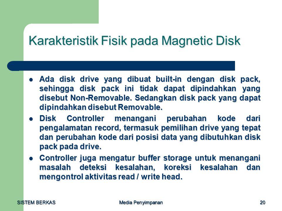 SISTEM BERKAS Media Penyimpanan 20 Karakteristik Fisik pada Magnetic Disk Ada disk drive yang dibuat built-in dengan disk pack, sehingga disk pack ini