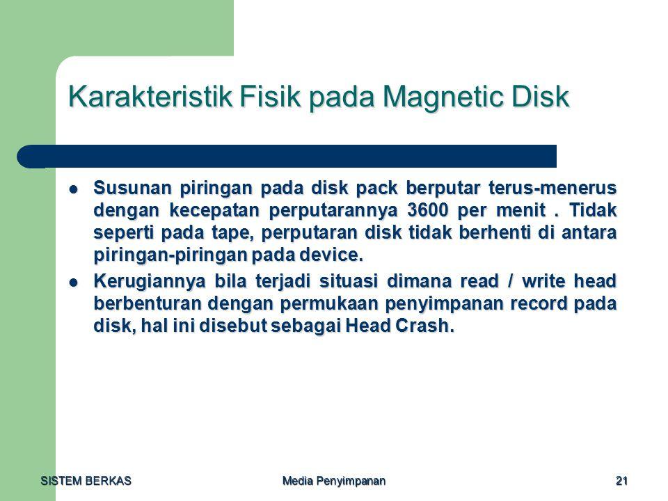 SISTEM BERKAS Media Penyimpanan 21 Karakteristik Fisik pada Magnetic Disk Susunan piringan pada disk pack berputar terus-menerus dengan kecepatan perp