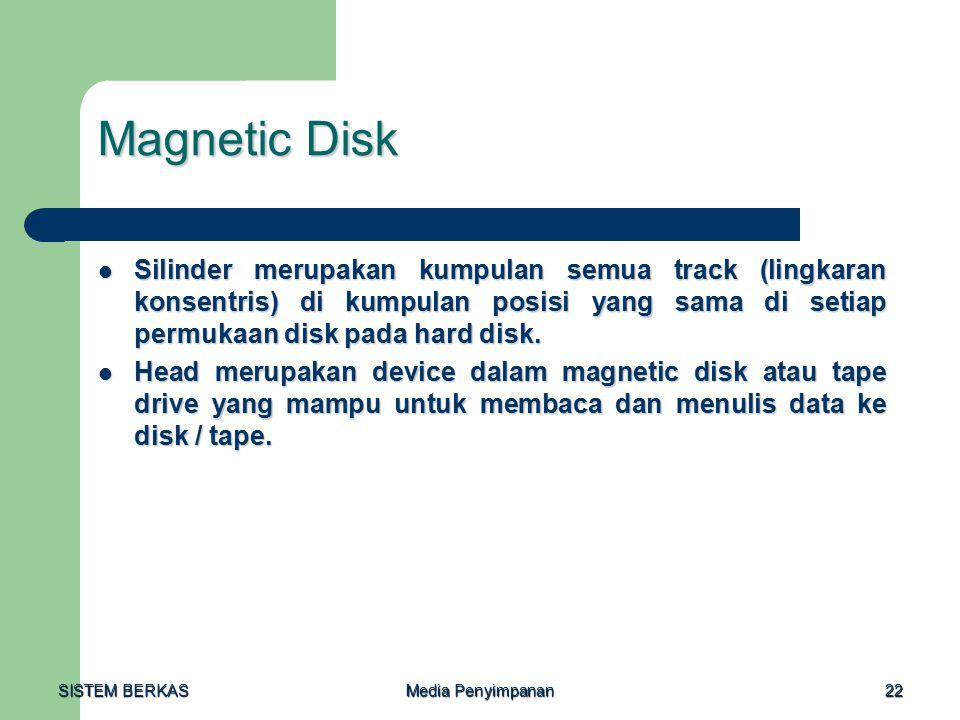 SISTEM BERKAS Media Penyimpanan 22 Magnetic Disk Silinder merupakan kumpulan semua track (lingkaran konsentris) di kumpulan posisi yang sama di setiap permukaan disk pada hard disk.