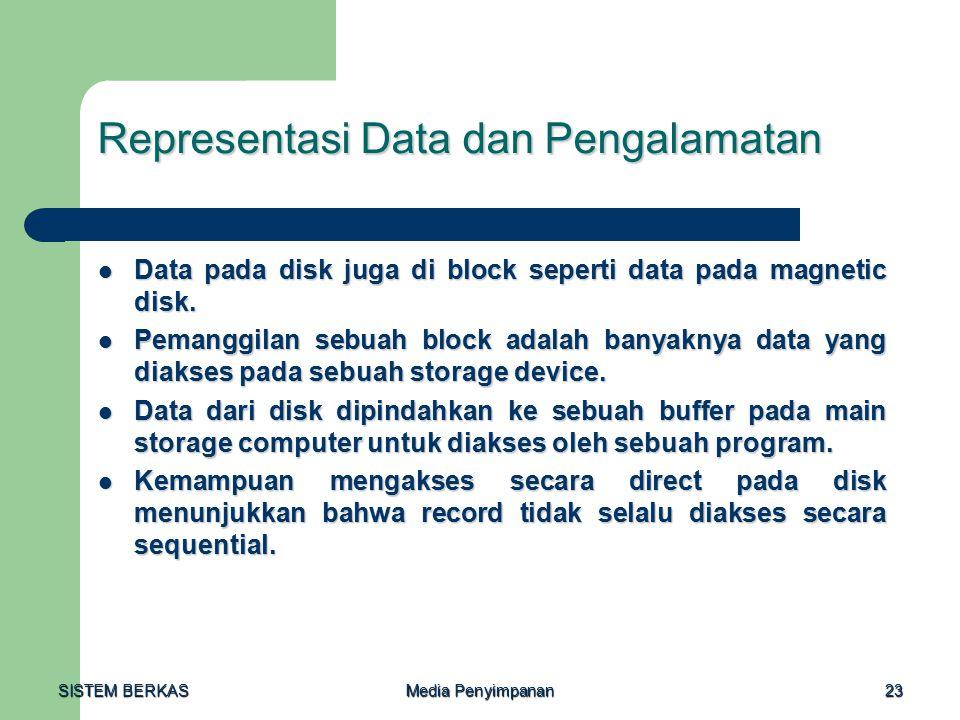 SISTEM BERKAS Media Penyimpanan 23 Representasi Data dan Pengalamatan Data pada disk juga di block seperti data pada magnetic disk.