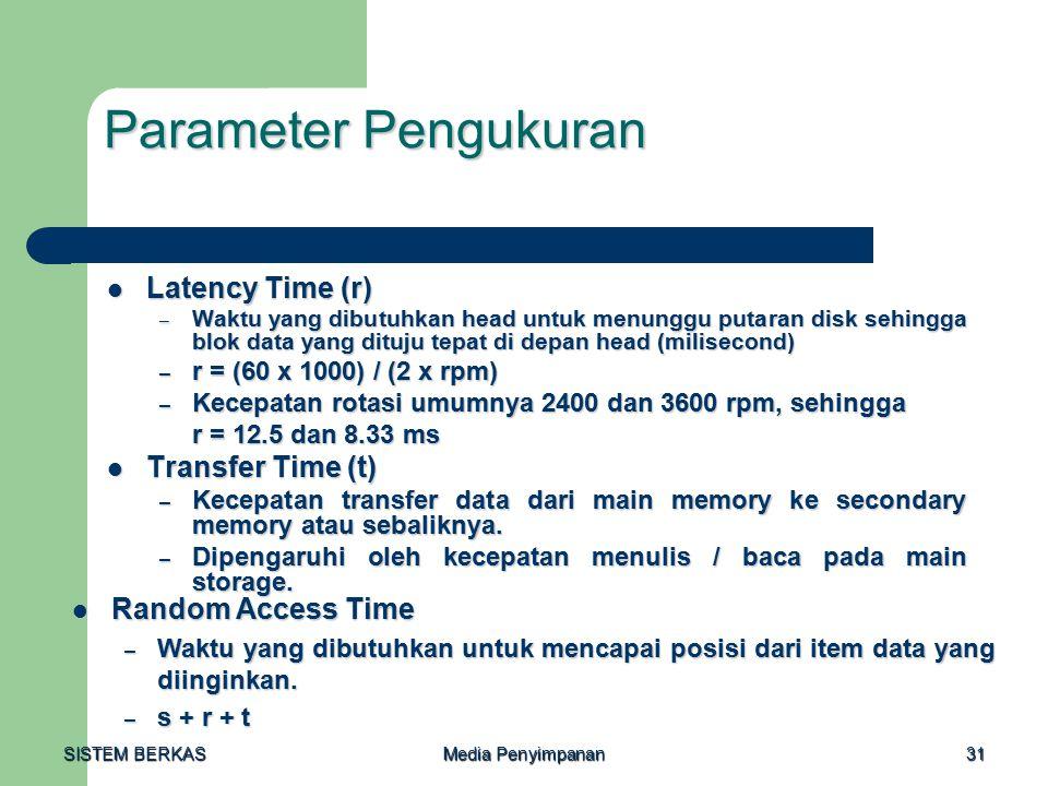 SISTEM BERKAS Media Penyimpanan 31 Parameter Pengukuran Latency Time (r) Latency Time (r) – Waktu yang dibutuhkan head untuk menunggu putaran disk sehingga blok data yang dituju tepat di depan head (milisecond) – r = (60 x 1000) / (2 x rpm) – Kecepatan rotasi umumnya 2400 dan 3600 rpm, sehingga r = 12.5 dan 8.33 ms Transfer Time (t) Transfer Time (t) – Kecepatan transfer data dari main memory ke secondary memory atau sebaliknya.