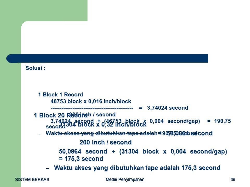 SISTEM BERKAS Media Penyimpanan 36 Solusi : 1 Block 1 Record 1 Block 1 Record 46753 block x 0,016 inch/block --------------------------------------------- = 3,74024 second 200 inch / second 200 inch / second 3,74024 second + (46753 block x 0,004 second/gap) = 190,75 second – Waktu akses yang dibutuhkan tape adalah 190,75 second 1 Block 20 Record 31304 block x 0,32 inch/block --------------------------------------------- = 50,0864 second 200 inch / second 200 inch / second 50,0864 second + (31304 block x 0,004 second/gap) = 175,3 second – Waktu akses yang dibutuhkan tape adalah 175,3 second