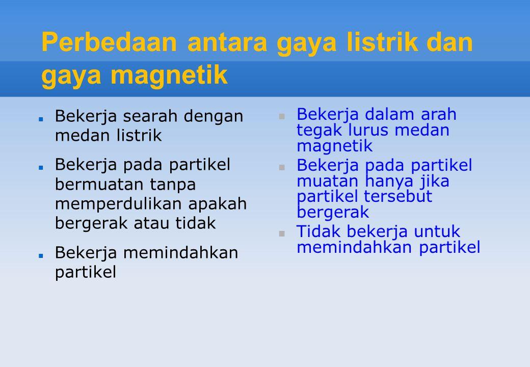 Perbedaan antara gaya listrik dan gaya magnetik Bekerja searah dengan medan listrik Bekerja pada partikel bermuatan tanpa memperdulikan apakah bergera